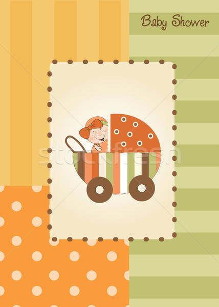 Stock photo: baby girl announcement card