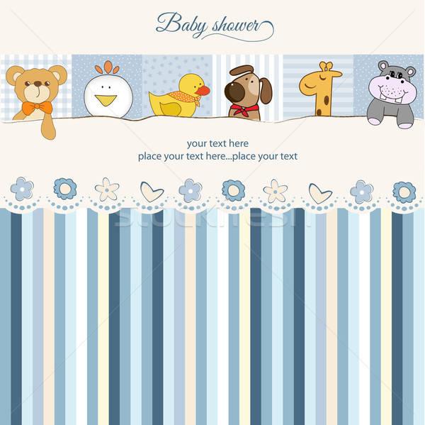 Bebê chuveiro anúncio cartão festa abstrato Foto stock © balasoiu