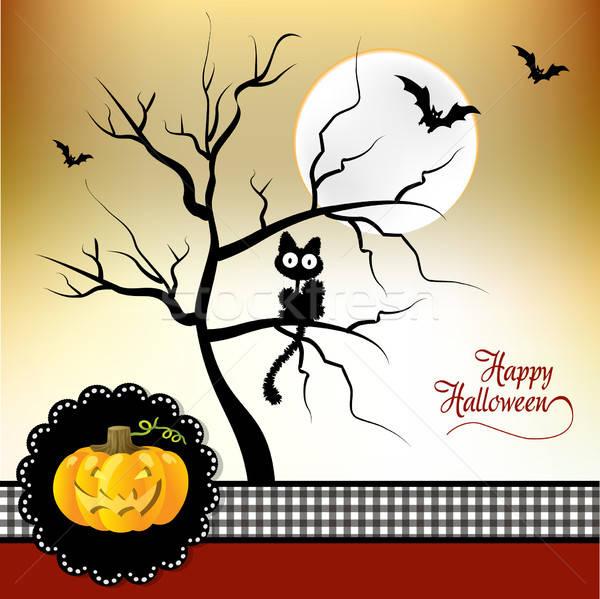 Stok fotoğraf: Halloween · tebrik · kartı · sevmek · kedi · ay · gece
