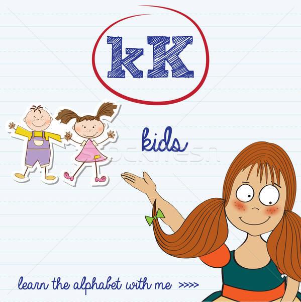 alphabet worksheet of the letter k Stock photo © balasoiu