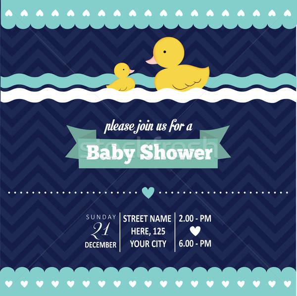 Baba zuhany meghívó kacsa retró stílus vektor Stock fotó © balasoiu
