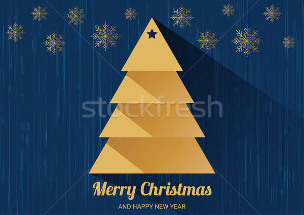 Christmas card with Christmas tree. Flat design style. Stock photo © balasoiu