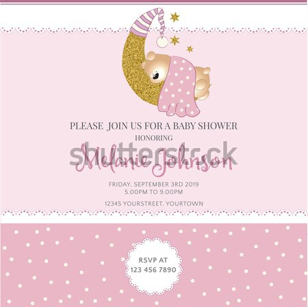 shabby chic baby girl shower card Stock photo © balasoiu