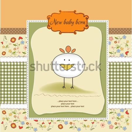 Gelukkige verjaardag kaart cute kat meisje abstract Stockfoto © balasoiu