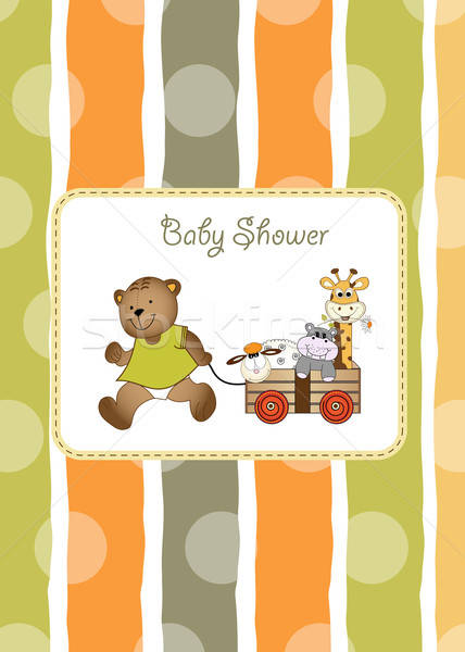 Stock photo: baby shower greeting card