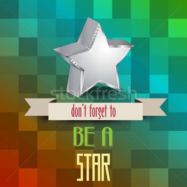 Plakat Nachricht Sterne abstrakten Metall Vektor Stock foto © balasoiu