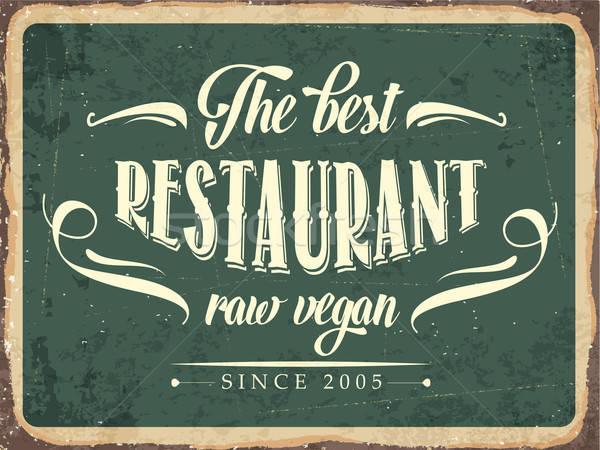 Retro metaal teken best restaurant ruw Stockfoto © balasoiu