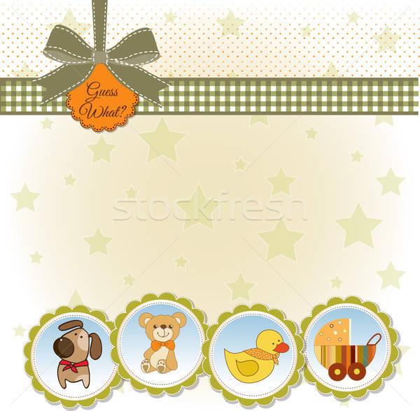 új baba közlemény kártya absztrakt gyermek Stock fotó © balasoiu