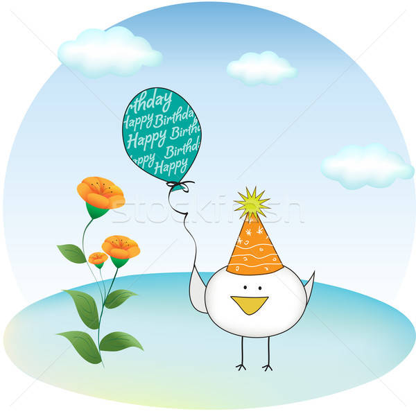 birthday party greeting card with chicken Stock photo © balasoiu