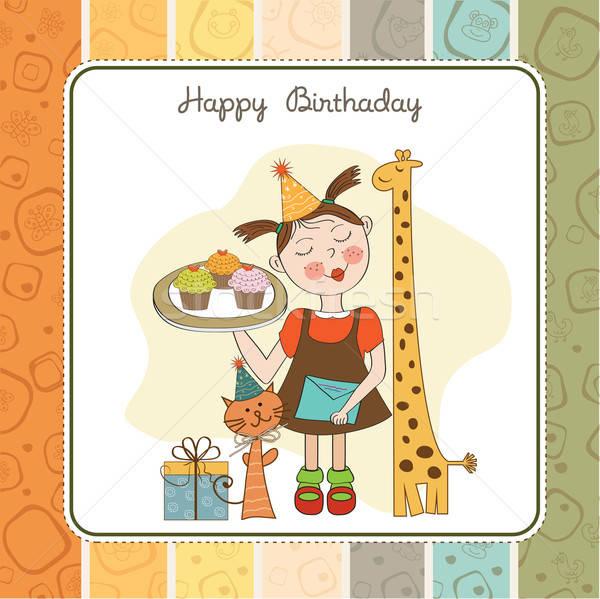 Feliz aniversário cartão engraçado menina animais Foto stock © balasoiu