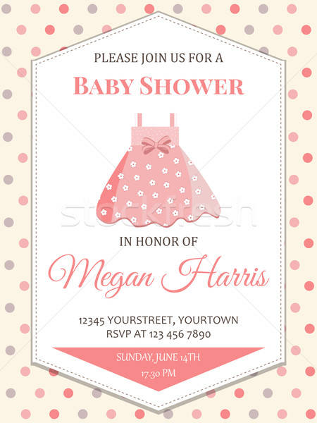 delicate baby girl shower card with little pink dress Stock photo © balasoiu