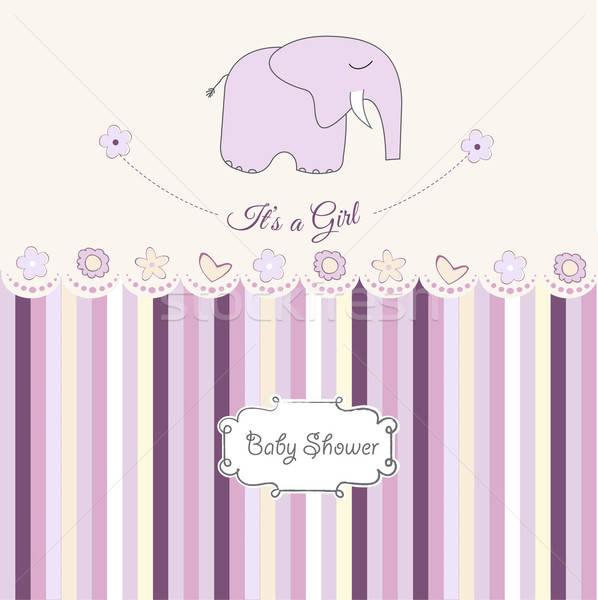 romantic baby girl announcement card Stock photo © balasoiu