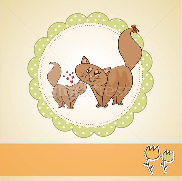 Nieuwe baby kitten moeder familie liefde Stockfoto © balasoiu