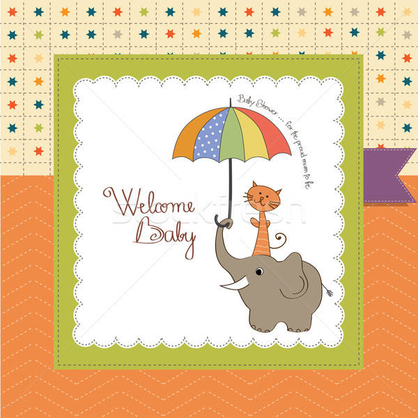 baby shower card with funny elephant and little cat under umbrel Stock photo © balasoiu