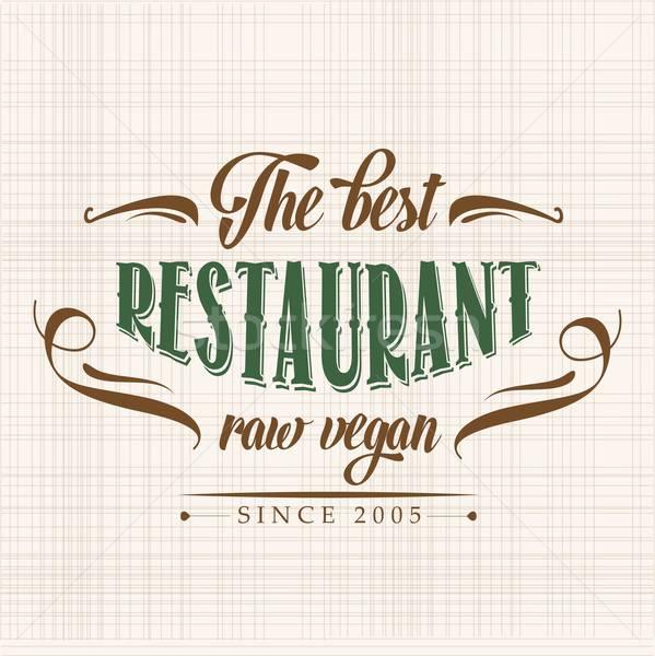 Retro ruw veganistisch restaurant poster illustratie Stockfoto © balasoiu
