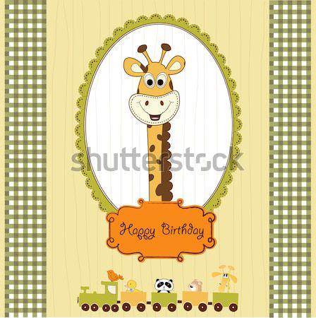 Puéril carte jouet anniversaire fond garçon Photo stock © balasoiu