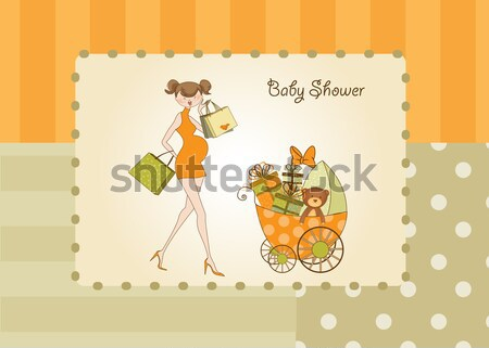 birthday card - pretty young lady with arms full of gifts Stock photo © balasoiu