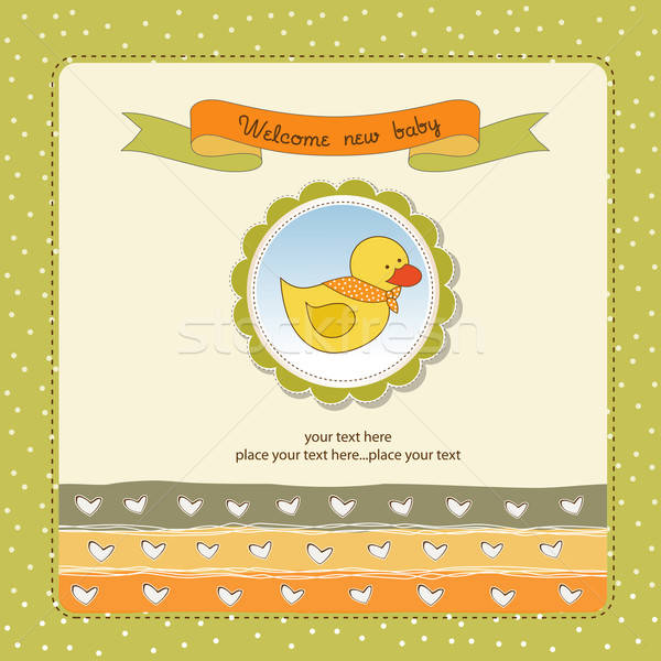 Stock photo: baby shower card with little duck