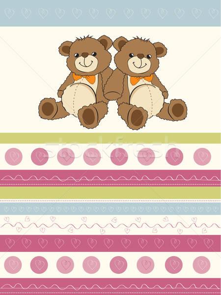 カード 双子 テディベア 赤ちゃん 幸せ 歳の誕生日 ストックフォト © balasoiu
