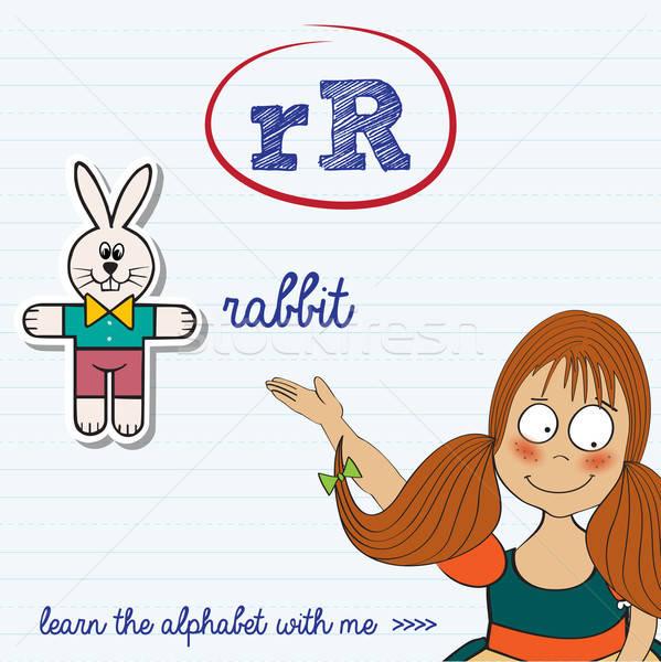 Foto stock: Alfabeto · letra · r · menina · crianças · estudante · arte