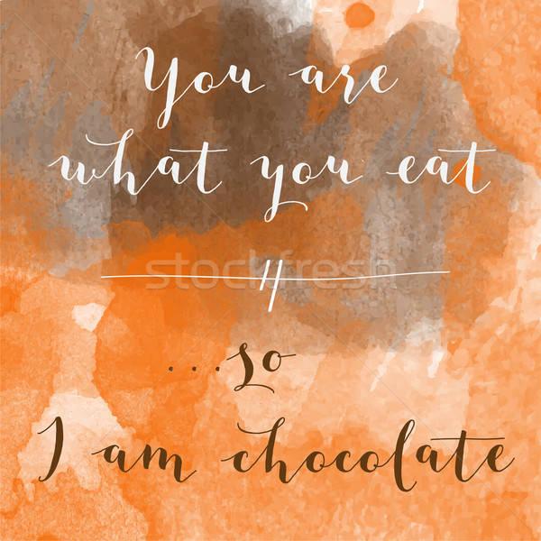 Stock fotó: Mi · eszik · délelőtt · csokoládé · motiváció · vízfesték