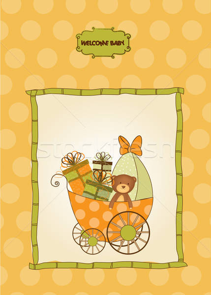 new baby announcement card with pram Stock photo © balasoiu