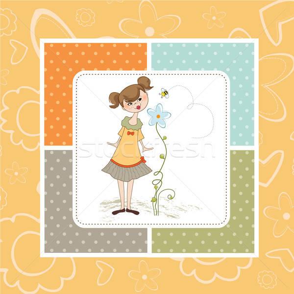 Kicsi fiatal hölgy virág lány pillangó Stock fotó © balasoiu