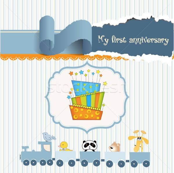 baby birthday card with cake Stock photo © balasoiu