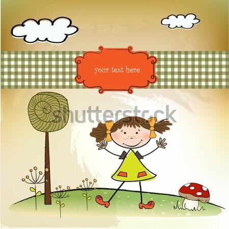 Jong meisje swing natuur vogel vreugde vriendschap Stockfoto © balasoiu