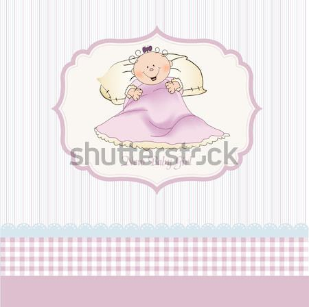 new baby girl announcement card with little girl Stock photo © balasoiu
