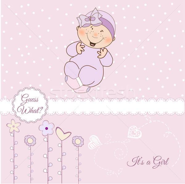 Stock photo: baby girl shower announcement