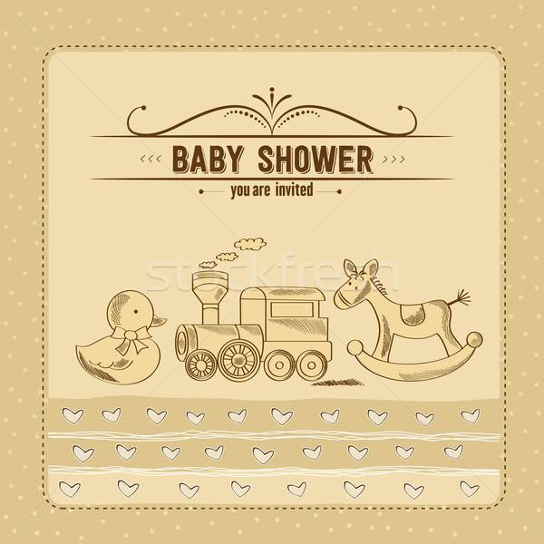 baby shower card with retro toys Stock photo © balasoiu