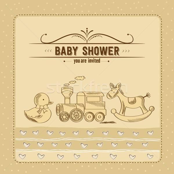Baba zuhany kártya retro játékok buli Stock fotó © balasoiu