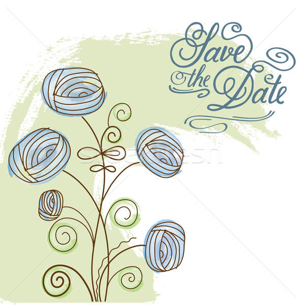 Watercolor floral  card  with message 'Save the Date' Stock photo © balasoiu