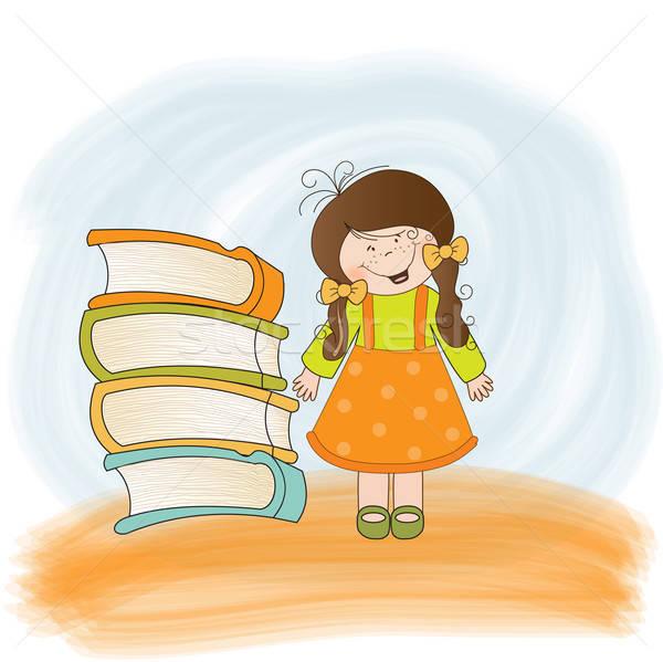 Astucieux fille vecteur format heureux étude Photo stock © balasoiu