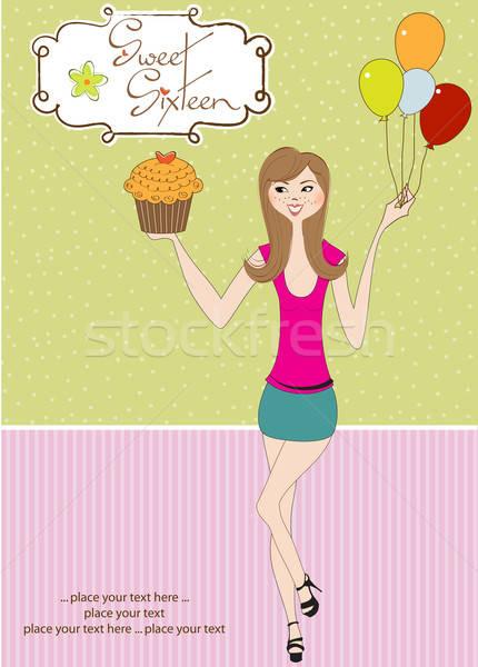 Sweet Sixteen Birthday card with young girl Stock photo © balasoiu