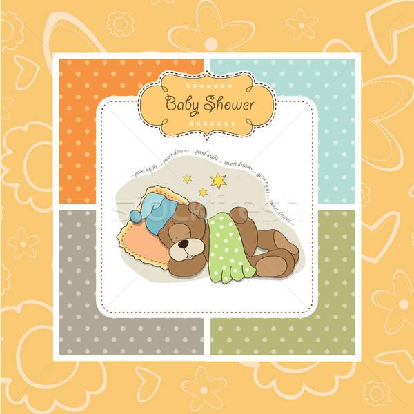 Foto stock: Bebê · chuveiro · cartão · adormecido · ursinho · de · pelúcia · ilustração