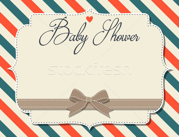 özelleştirilebilir bebek duş davetiye retro tarzı vektör Stok fotoğraf © balasoiu