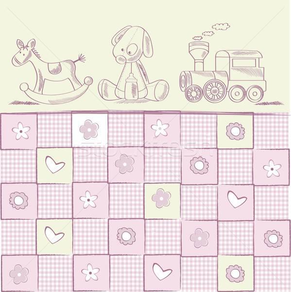 Ducha tarjeta retro juguetes feliz Foto stock © balasoiu