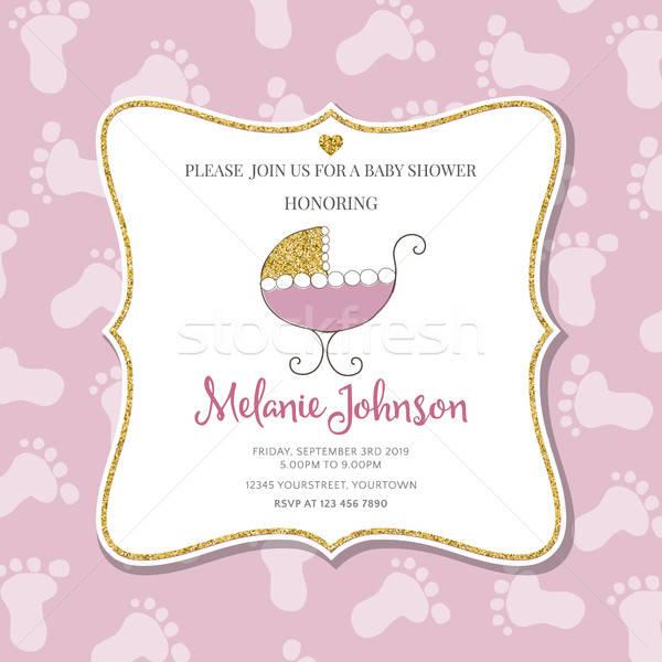 Baby Dusche Karte Vorlage golden Stock foto © balasoiu