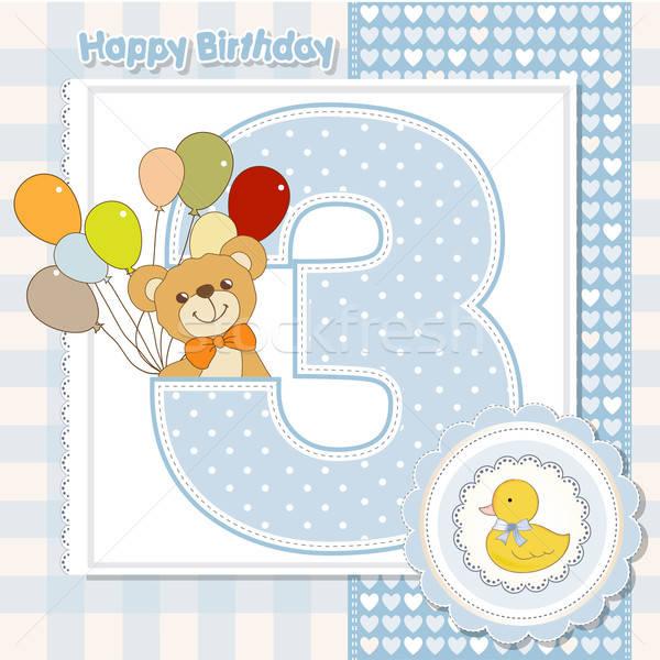 Terceiro aniversário bebê arte teia Foto stock © balasoiu