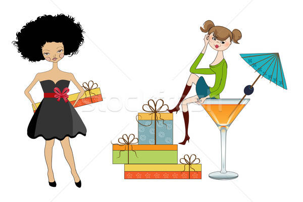 set of two happy young girls with gifts isolated on white backgr Stock photo © balasoiu