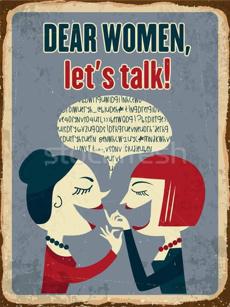 ретро металл знак женщины говорить eps10 Сток-фото © balasoiu