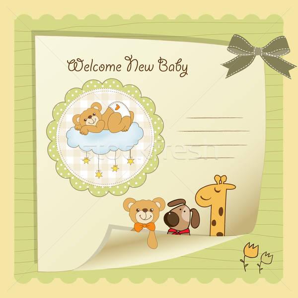 Baba zuhany kártya vektor formátum kutya Stock fotó © balasoiu