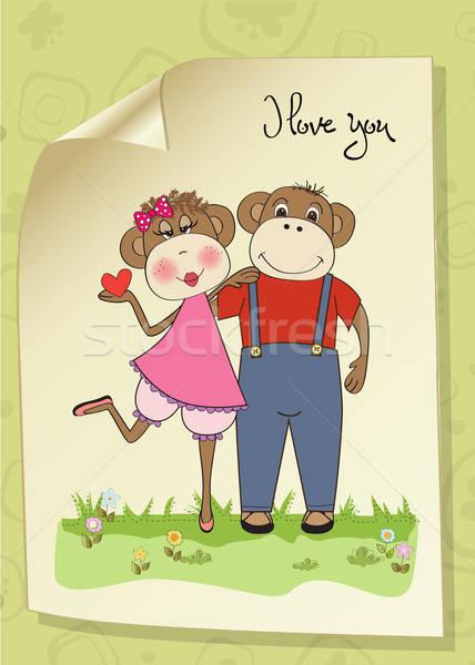 サル カップル 愛 バレンタインデー カード 猿 ストックフォト © balasoiu