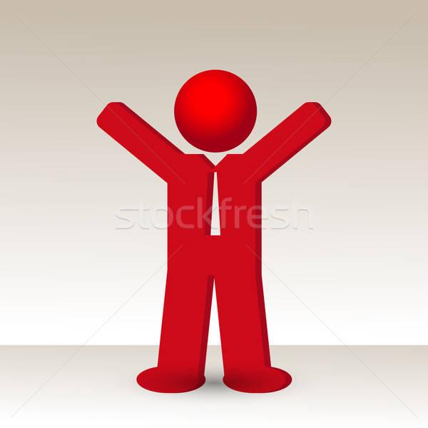 business man  raises his arm fist up in gesture of success Stock photo © balasoiu