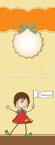 Cute meisje eerste verjaardag partij gelukkig Stockfoto © balasoiu