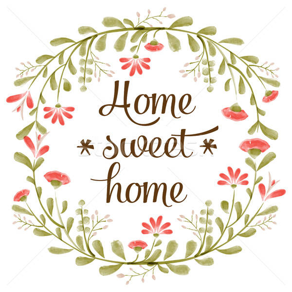 'Home sweet home' background with delicate watercolor flowers Stock photo © balasoiu