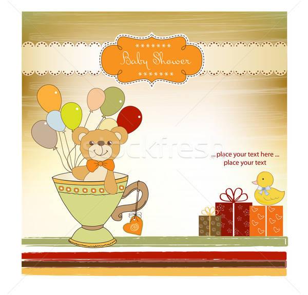 Baby douche kaart cute teddybeer abstract Stockfoto © balasoiu