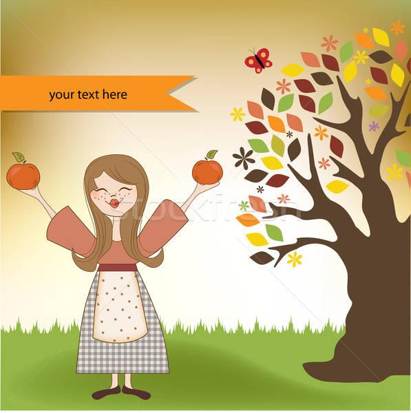 Sonbahar kız elma gökyüzü doğa Stok fotoğraf © balasoiu